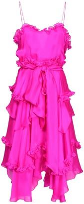 Alexandre Vauthier Silk Chiffon Ruffled Knee Length Dress