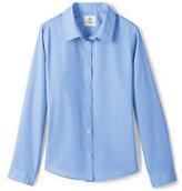 Classic Little Girls Long Sleeve Broadcloth Shirt-White