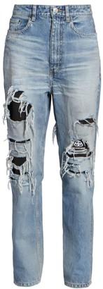 Balenciaga Ripped Logo Lined Jeans