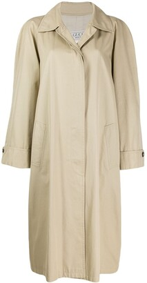 Gucci Pre-Owned 1980's Concealed Fastening Loose Midi Coat