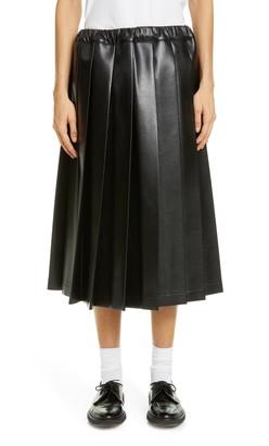 Comme des Garcons Pleat Faux Leather Midi Skirt