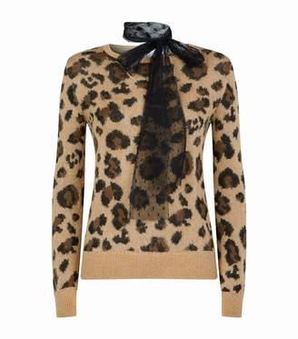 RED Valentino Leopard Print Neck Tie Sweater