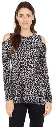 MICHAEL Michael Kors Mega Cheetah Cold-Shoulder (Gunmetal) Women's Clothing