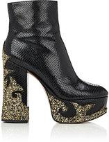 Marc Jacobs Women's Appliquéd Stamped Leather Platform Ankle Boots-BLACK