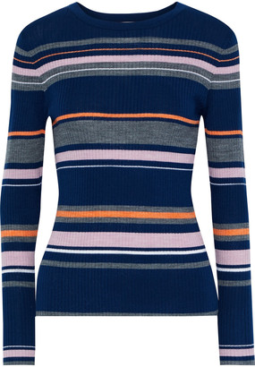 Frame Striped Ribbed Merino Wool-blend Top