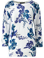 Lands' End Women's Tall Classic Supima 3/4 Sleeve Print Crewneck Sweater-Spring Blue Floral
