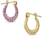 Zales Child's Reversible Rose Crystal Hoop Earrings in 14K Gold
