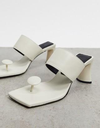 ASOS DESIGN Vacation premium leather toe post mid-heeled sandals in cream