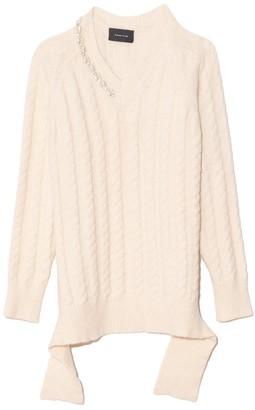 Simone Rocha V-Neck Skinny Cable Sweater in Cream/Pearl