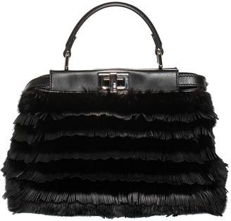 Fendi Black Leather & Mink Medium Peekaboo Tote, Never Carried