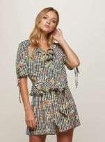 Miss Selfridge Gingham floral print wrap blouse