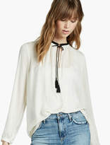 Lucky Brand Fringe Neck Blouse