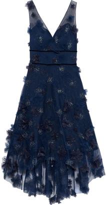 Marchesa Notte Asymmetric Floral-appliqued Glittered Tulle Dress