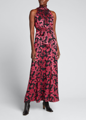 Alice + Olivia Dita Smocked-Neck Godet Maxi Dress