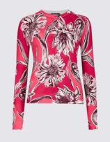 Marks and Spencer Floral Print Round Neck Long Sleeve Cardigan