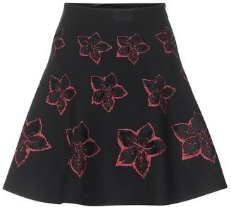 Alaia Wool-blend floral knit skirt