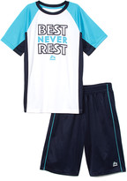 Rbx RBX Boys' Active Shorts BRIGHT - White & Navy Color Block 'Never Rest' Tee & Navy Active Shorts - Toddler & Boys