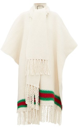 Gucci Oversized Moss-stitch Fringed Wool Cape - Womens - Ivory Multi