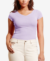 Lauren Ralph Lauren Plus Size Stretch V-Neck T-Shirt