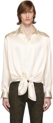 Saint Laurent Off-White Silk Plombant Shirt