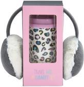 Very MISS FUNKY - Bright Leopard Print Travel Mug & Grey Ear Muff Set