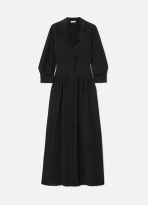 Deitas Karen Gathered Silk-crepe Maxi Dress - Black