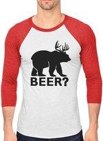 TeeStars Bear + Deer = BEER Funny Christmas Gift 3/4 Sleeve Baseball Jersey Shirt red/white