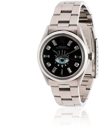 Jacquie Aiche customised black Rolex eye stainless steel watch