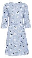 Dorothy Perkins Womens Pale Bule Daisy Print Pleat Neck Dress