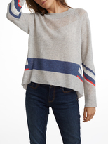 White + Warren Cashmere Mesh Striped Crewneck