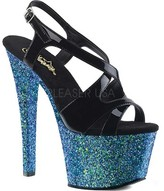 Pleaser Sky 330LG Strappy Sandal(Women's) -Black Patent/Blue Multi Glitter