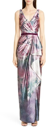 Marchesa Metallic Floral Print Column Gown