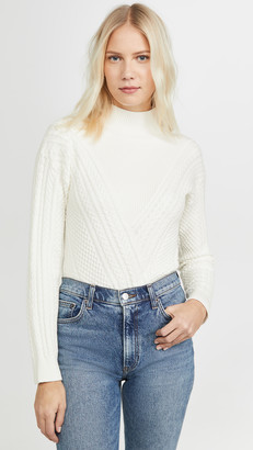 Club Monaco Cable Front Mock Neck Sweater