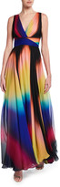 ZUHAIR MURAD Sombreada Multicolor Chiffon V-Neck Gown