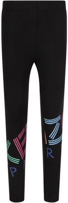 Kenzo Kids Black Girl Leggings With Logo