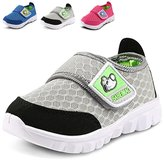 LONSOEN Kid Mesh Sneakers Athletic Velcro Light Weight Running Shoes(Toddler/Little Kid)
