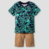 Little Rebels Toddler Boys' Printed Jungle Pocket T-Shirt with Khaki Poplin Shorts - Navy