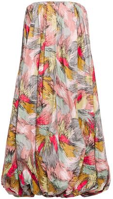 Missoni Strapless Gathered Printed Textured-woven Midi Dress