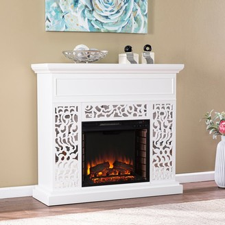 Silver Orchid Westmont Contemporary White Wood Electric Fireplace