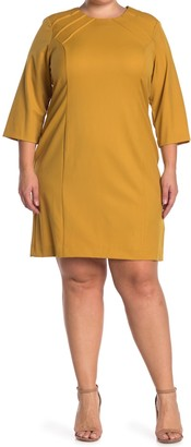 Sharagano Pintuck 3/4 Sleeve Sheath Dress