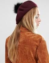 Asos Faux Fur Pom Wool Beret