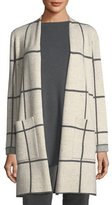 Eileen Fisher Peppered Windowpane Wool-Blend Simple Long Jacket, Plus Size