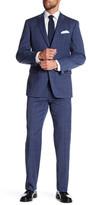 Tommy Hilfiger Blue Two Button Notch Lapel Windowpane Print Suit