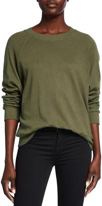 Monrow Mesh Raglan-Sleeve Sweatshirt