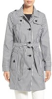 London Fog Women's Gingham Print Single Breasted Trench Coat