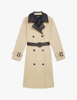 The Kooples Leather-trimmed stretch-cotton trench coat