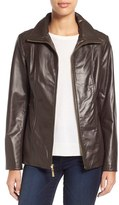 Ellen Tracy Women's Stand Collar Leather Jacket