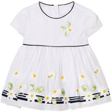 Mayoral White Floral Embroidered and Stripe Dress