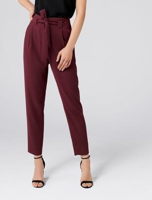 Forever New Natasha High-Waist Tie Front Pants - Deep Berry - 16