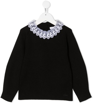 Chloé Kids Lace Collar Jumper